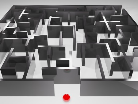 metaphoric image, ball in labyrinth Stock Photo