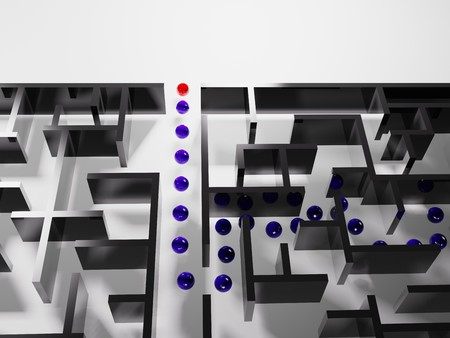 difficult mission: metaphoric image, red ball leadering in labyrinth