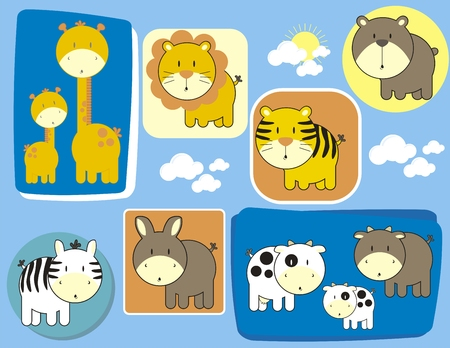 set of baby animals individual objects very easy to edit Illustration