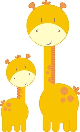 jirafa caricatura: madre e hijo jirafas, cada uno de los objetos muy f�cil de editar Vectores