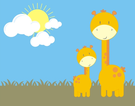 mom and son giraffes, individual objects very easy to edit