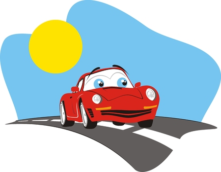 car: cartoon car, individual objects very easy to edit