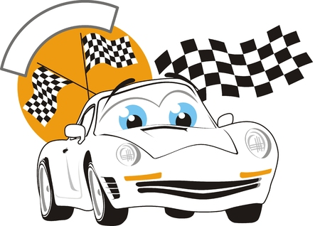 cartoon race car, individual objects very easy to edit Stock Vector - 4665312