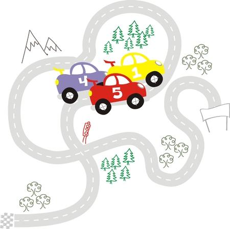 Cartoon Autos der Rasse, der einzelnen Objekte sehr einfach zu bearbeiten