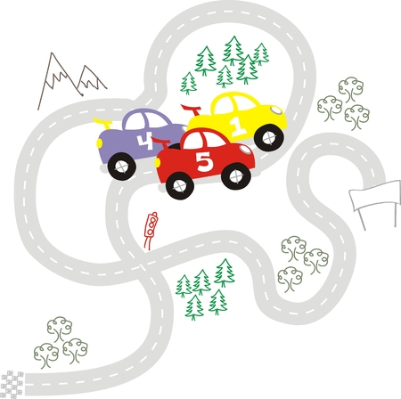 cartoon cars race, individual objects very easy to edit Illustration