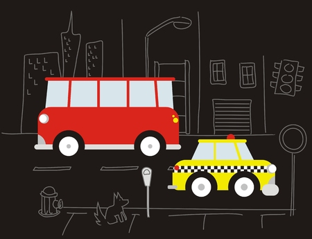 cartoon urban cars, individual objects very easy to edit Ilustração