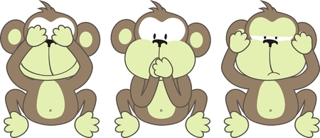 three monkeys saying, See No Evil, Speak No Evil, Hear No Evil Vector