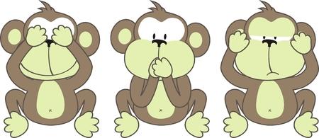 trzech małp, mówiąc: Patrz nr Evil, Speak No Evil, Hear No Evil