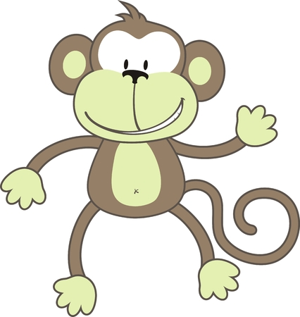 an individual: isolated cartoon monkey, individual objects very easy to edit