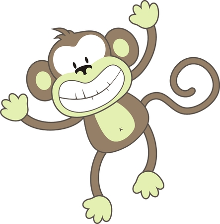 mono caricatura: aislados de dibujos animados mono, cada uno de los objetos muy f�cil de editar