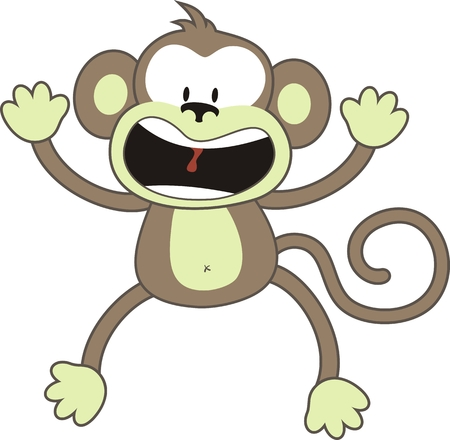 Chimp: isolated cartoon monkey, individual objects very easy to edit
