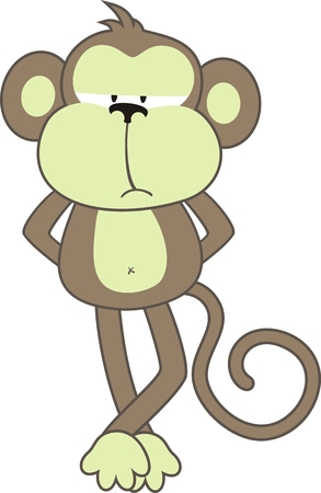 primates: isolated cartoon monkey, individual objects very easy to edit