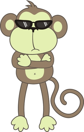 bodyguard: isolated cartoon monkey, individual objects very easy to edit