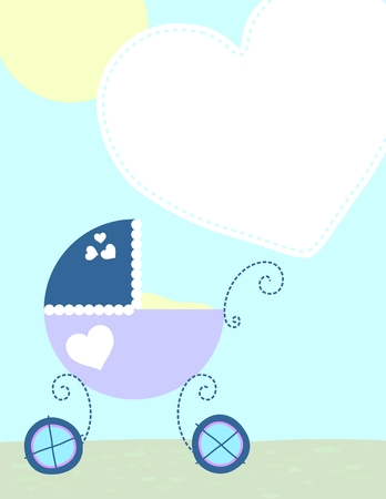 background with baby carriage, vector format very easy to edit Illustration