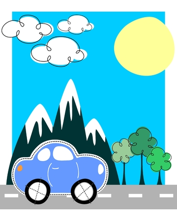childlike car travel scene Stock Vector - 5078746
