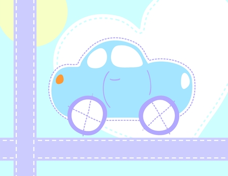 cute car greeting card, individual objects very easy to edit Illustration