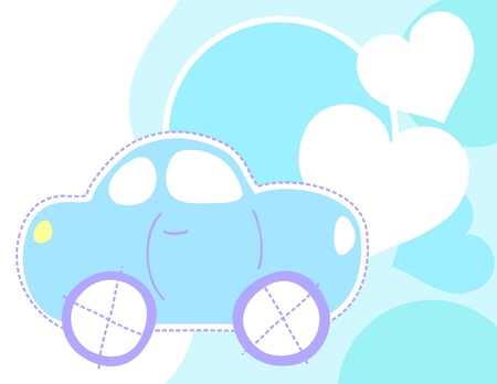 baby toy: cute car greeting card, individual objects very easy to edit Illustration
