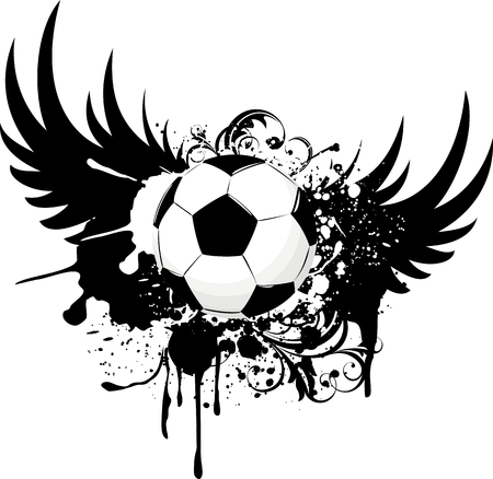 grungy winged soccer ball design Ilustrace