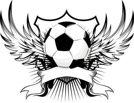 gevleugelde voetbal bal embleem