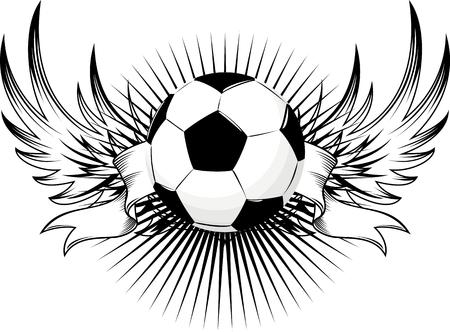winged soccer ball design Vector