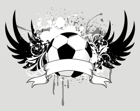 grunge winged soccer ball design Illustration