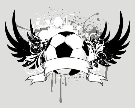 grunge winged soccer ball design Ilustracja