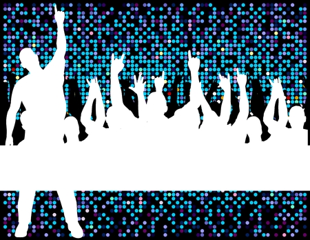 human silhouettes having fun in disco look background Stock Vector - 5194469