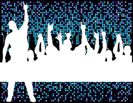 human silhouettes having fun in disco look background
