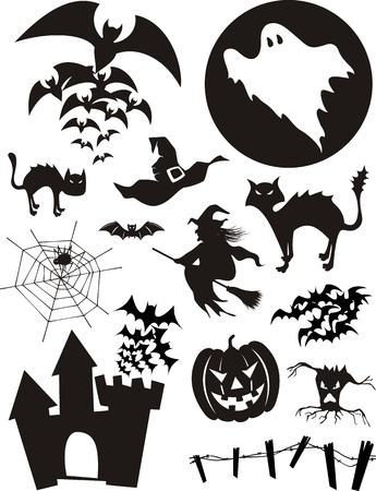 sorci�re halloween: ensemble de trditional �l�ments de conception Halloween, chauves-souris, citrouilles, sorci�res, fant�mes, chat noir et plus isol� sur fond blanc Illustration