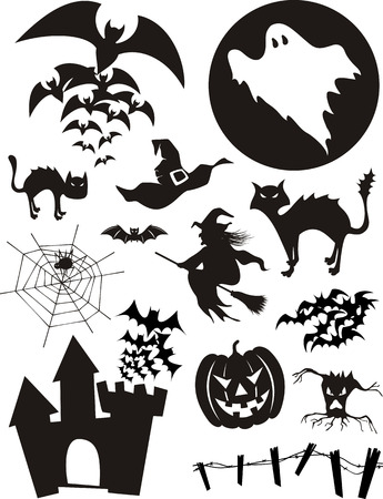 set of trditional halloween design elements, bats, pumpkin, witch, ghost, black cat and more isolated on white background
