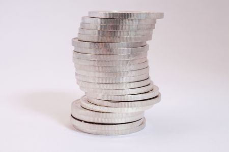 silver coins: pile of pure silver coins from mexico named onza libertad