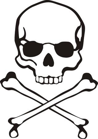cross bones: cl�sico Cruz huesos y cr�neo en formato vectorial muy f�cil de editar, objetos individuales