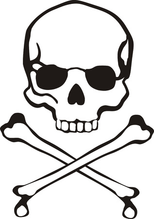 classic cross bones and skull in vector format very easy to edit, individual objects Illustration