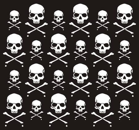 crossbones and skull pattern, individual objects very easy to edit Stock Vector - 6291981