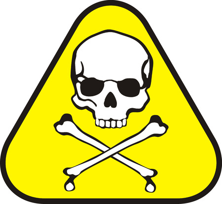 poison symbol: isolated triangle sticker of poison symbol Illustration