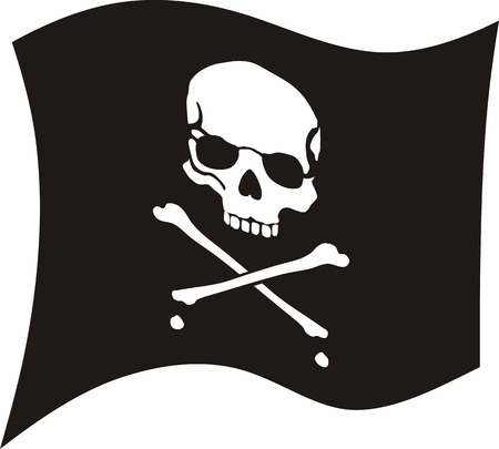 crossbones and skul on black flag, skull and bones have outline Stock Vector - 6291979