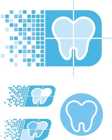 歯科ロゴタイプのセット  イラスト・ベクター素材