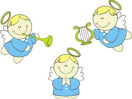 set van schattige baby weinig engelen cherub met harp, trompet en kaars  Stock Illustratie