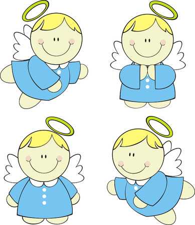 set of isolated cute little angels. Vector