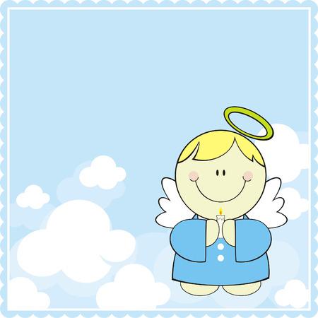 niedliche kleine Engel mit Kerze im Himmel  Vektorgrafik