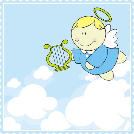poco Querubín de bebé con arpa en el cielo