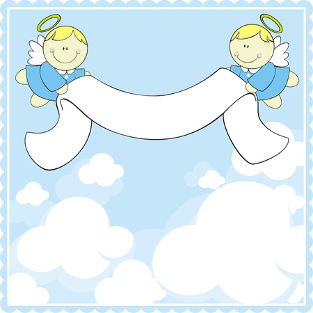 cute baby angels with ribbon banner Vector