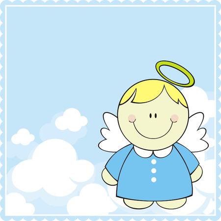 leuke kleine baby engel op wolken achtergrond  Stock Illustratie