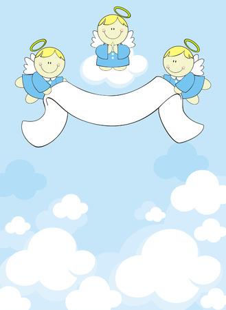 drie engeltjes met vaandel op wolken achtergrond