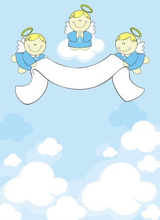 three little angels with ribbon banner on clouds background Vector
