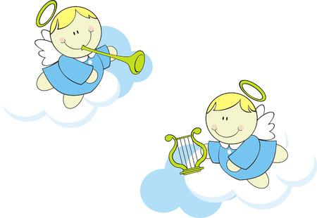 isolated cute little cherubs 일러스트