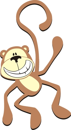 isolated cartoon smiling monkey
