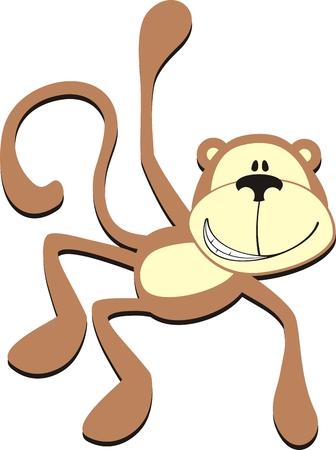 isolated cartoon smiling monkey