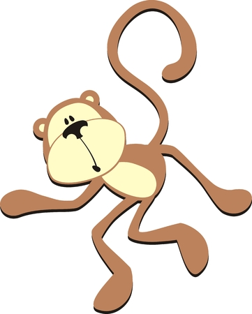 caught in the act, isolated cartoon monkey