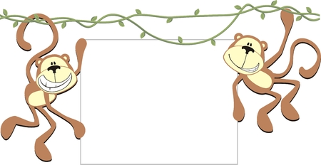 two happy monkeys holding a blank board for copy space Vectores